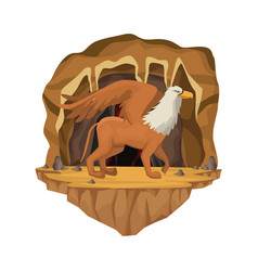 Cave interior scene with griff greek mythological vector