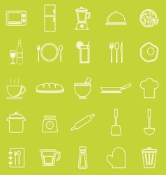 Kitchen line icons on green background vector