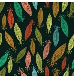 Pattern with ornate feathers vector