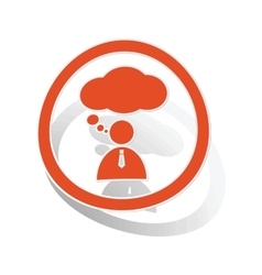 Thinking person sign sticker orange vector