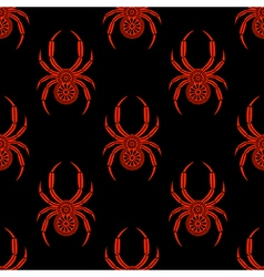 Pattern spider with bright decorative red closeup vector