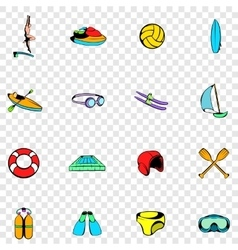 Water sport set icons vector