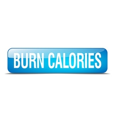 Burn calories blue square 3d realistic isolated vector