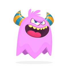 angry cartoon monster with horns vector image