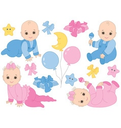 Baby Boy and Baby Girl Set vector image