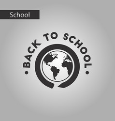 Black and white style icon back to school globe vector