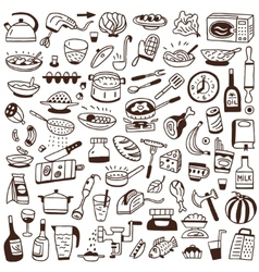 Cookery food - doodles collection vector image