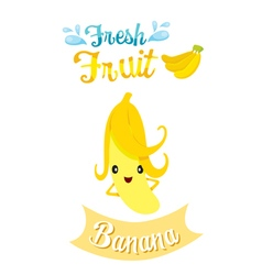 Cute Cartoon Of Banana Fruit Banner Logo vector image