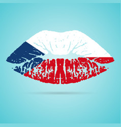 czech republic flag lipstick on the lips isolated vector image