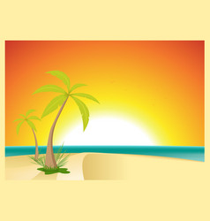 Exotic beach postcard vector