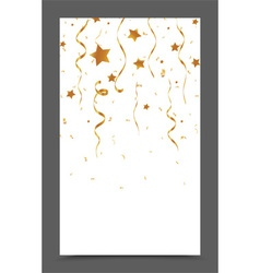 Falling gold ribbon and confetti vector image