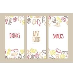 Fast food menu set of cartoon banners vector