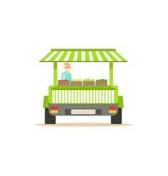 Flat street fresh food cart with fresh food vector