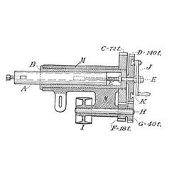 Hand crank lathe boring rod vintage vector