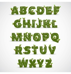 Handwritten ABC alphabet with leaf vector image vector image