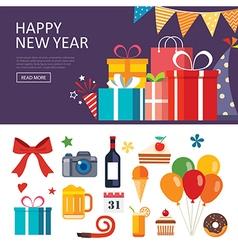 Happy new year gift box banner flat design vector