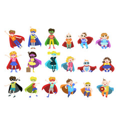 Kids dressed as superheroes set vector