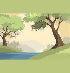 Lake and forest scene vector