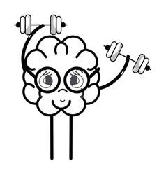 line icon adorable kawaii brain doing exercise vector image vector image
