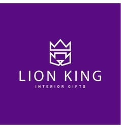 Lion crown as king trend logo gifts flat style art vector