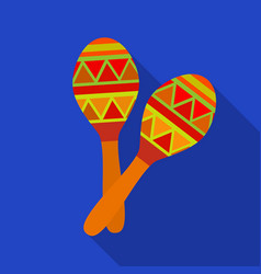 Mexican maracas icon in flat style isolated on vector