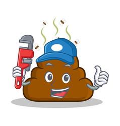 Plumber poop emoticon character cartoon vector