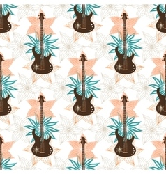 Seamless background with bass guitar and flowers vector