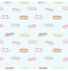 Seamless pattern of the delicious eclairs vector