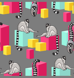 seamless pattern with cartoon lemurs an vector image