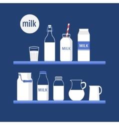 Set of milk vector image