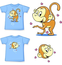 Shirt with a picture of merry monkeys - vector