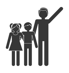 Silhouette family father and children lovely vector