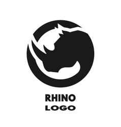 Silhouette of the rhino monochrome logo vector