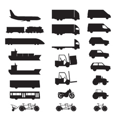Silhouettes of various vehicles vector image vector image