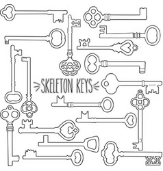 Skeleton keys outline vector