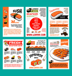 sushi menu template set for japanese food design vector image