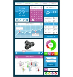 Ui infographics and web elements vector image