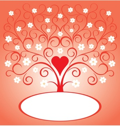 Valentine tree with flowers vector image vector image