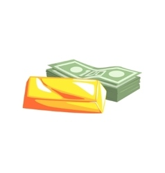 Golden Bar And Pack Of Dollars vector image