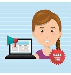 woman sale shop online vector image