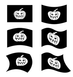 Flag halloween sign set for terrible holiday vector