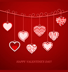Valentine day hanging heart vector