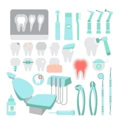 Dental care dentist instrument tools set teeth vector