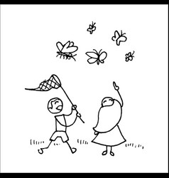 Children catching butterflies with a net vector