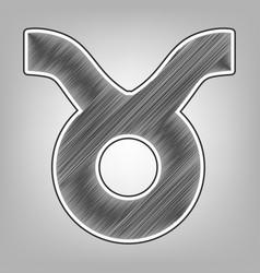 Taurus sign   pencil sketch vector