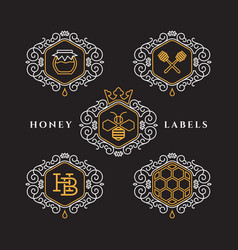 Honey outline labels vector