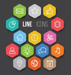 Modern hexagonal thin line icon collection vector