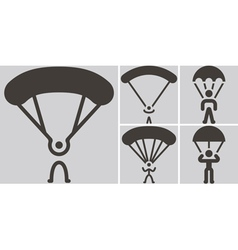 Parachute sport icons vector