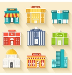 Flat colorful sity buildings set icons background vector
