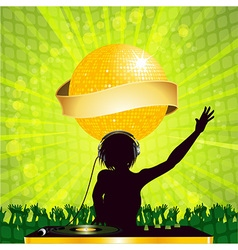 Female dj with disco ball and banner vector